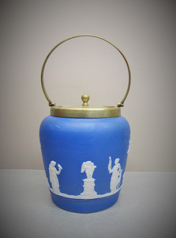 Antique Dudson Hanley Jasperware Deep Blue Biscuit Barrel Cookie Jar England Vinterior