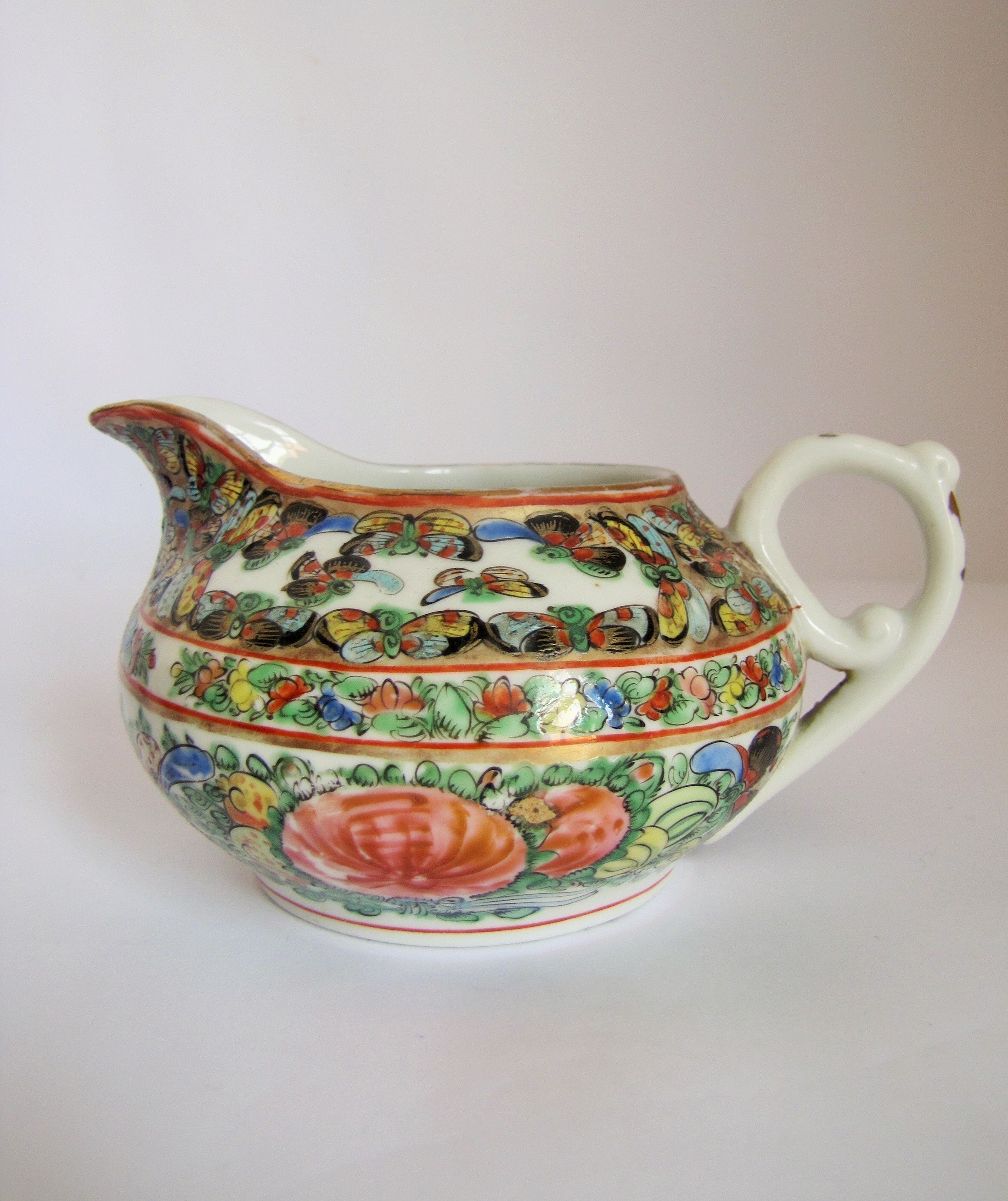 Antique Famille Rose Chinese Porcelain Jug Pitcher Collectable Chinese Pottery China Vinterior