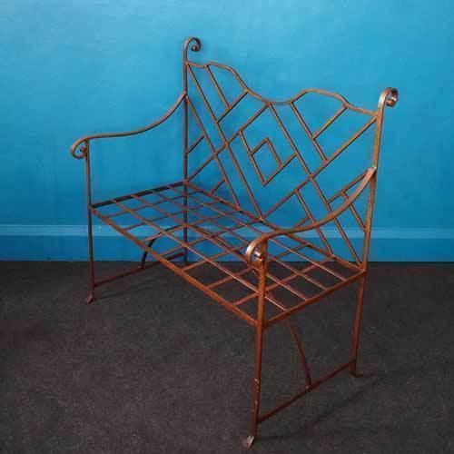 Vintage Metal Garden Bench – Geometric Design
