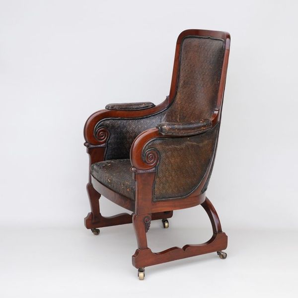 Antique Library/Club Armchair In Leather And Mahogany photo 1