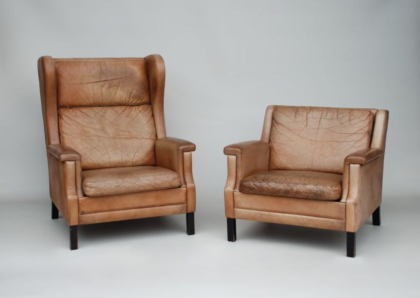 Danish Leather Armchairs, Mogensen Style