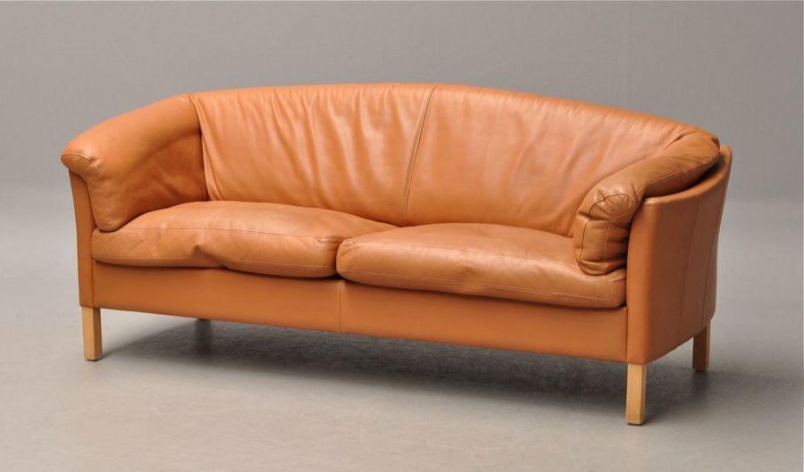 Large Danish Light Tan Leather Sofa photo 1