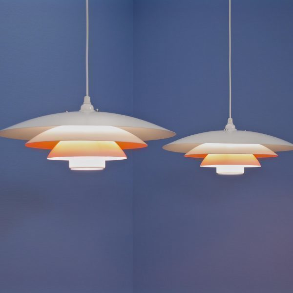 2 Danish Pendants In White With Terra Accent