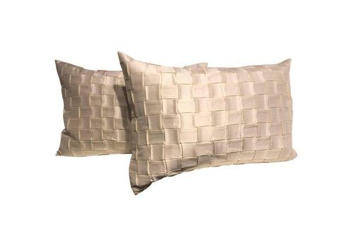 Silk Cushions Pleated Basket Weave Pattern Embossed Colour Oyster