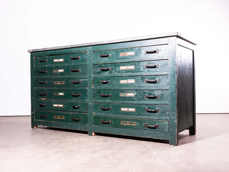 1940's English Engineers Industrial Cabinet/Chest Of Drawers/Sideboard With Zinc Top