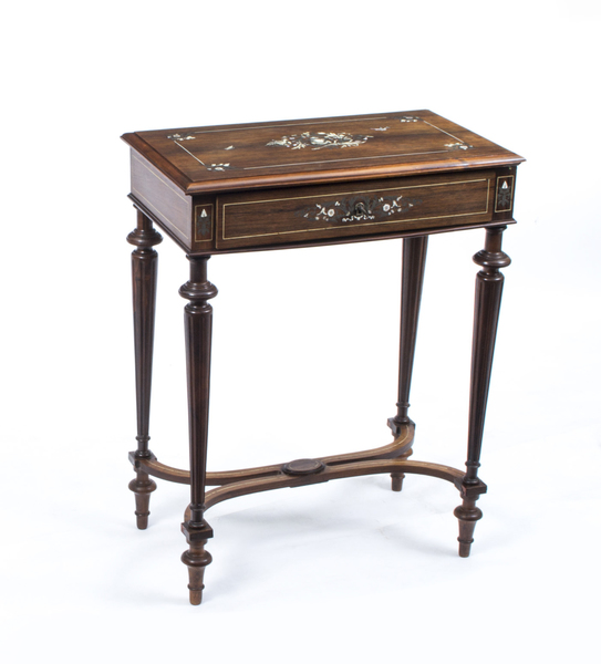 Antique French Rosewood Inlaid Dressing Work Table C1870 photo 1