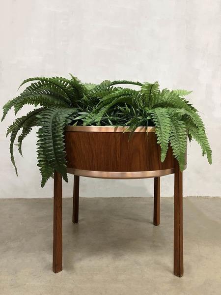 Vintage Round Plant Stand Plant Table Planter Scandinavian Design