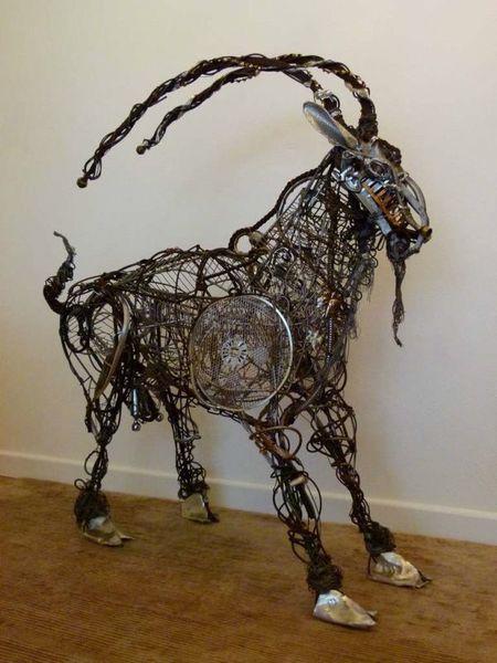 """Sculpture """"Mouli"""" The Goat By Artist Richard Dawson Hewitt"""