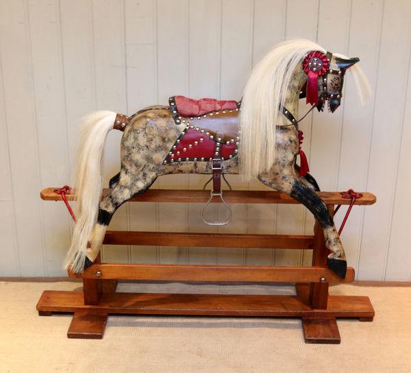 1930s Dapple Wooden Rocking Horse