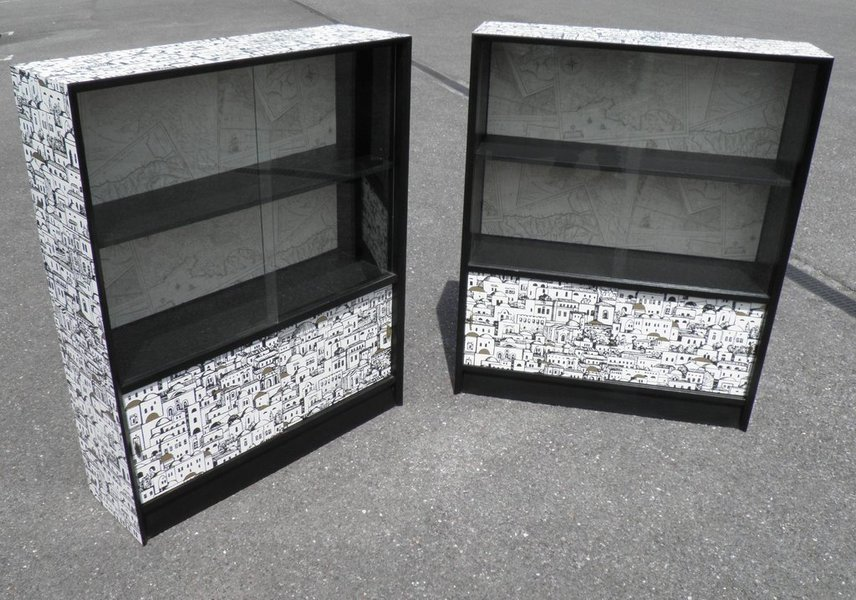 An Upcycled Pair Of Retro Glass Door Bookcases By Herbert E Gibbs, London