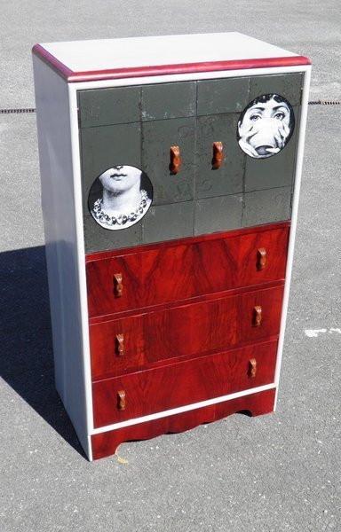 Art Deco Decorated Tallboy Chest