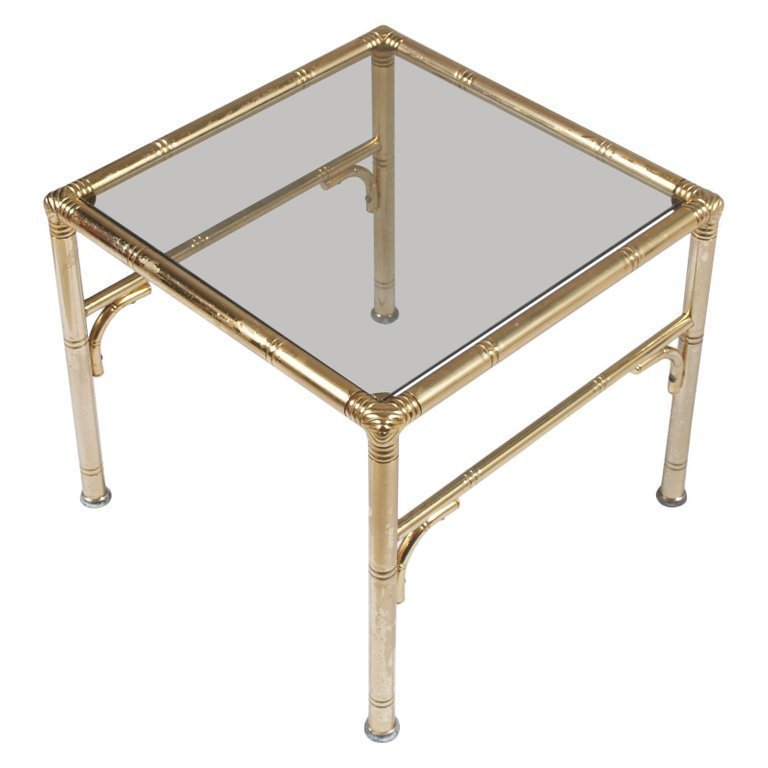 Italian Midcentury Coffee Tables Faux Bamboo In Gilt Metal