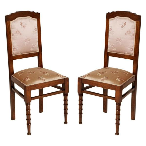 1990s Pair Of Italian Art Nouveau Chairs Restored With Original