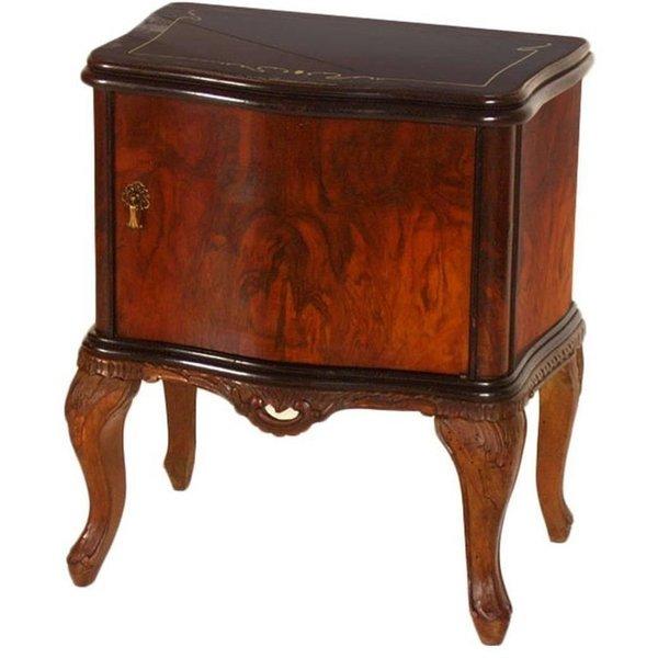newest 248b3 4cea0 Venetian Early 20th Century Baroque Nightstand Hand Carved Walnut, Burl  Restored