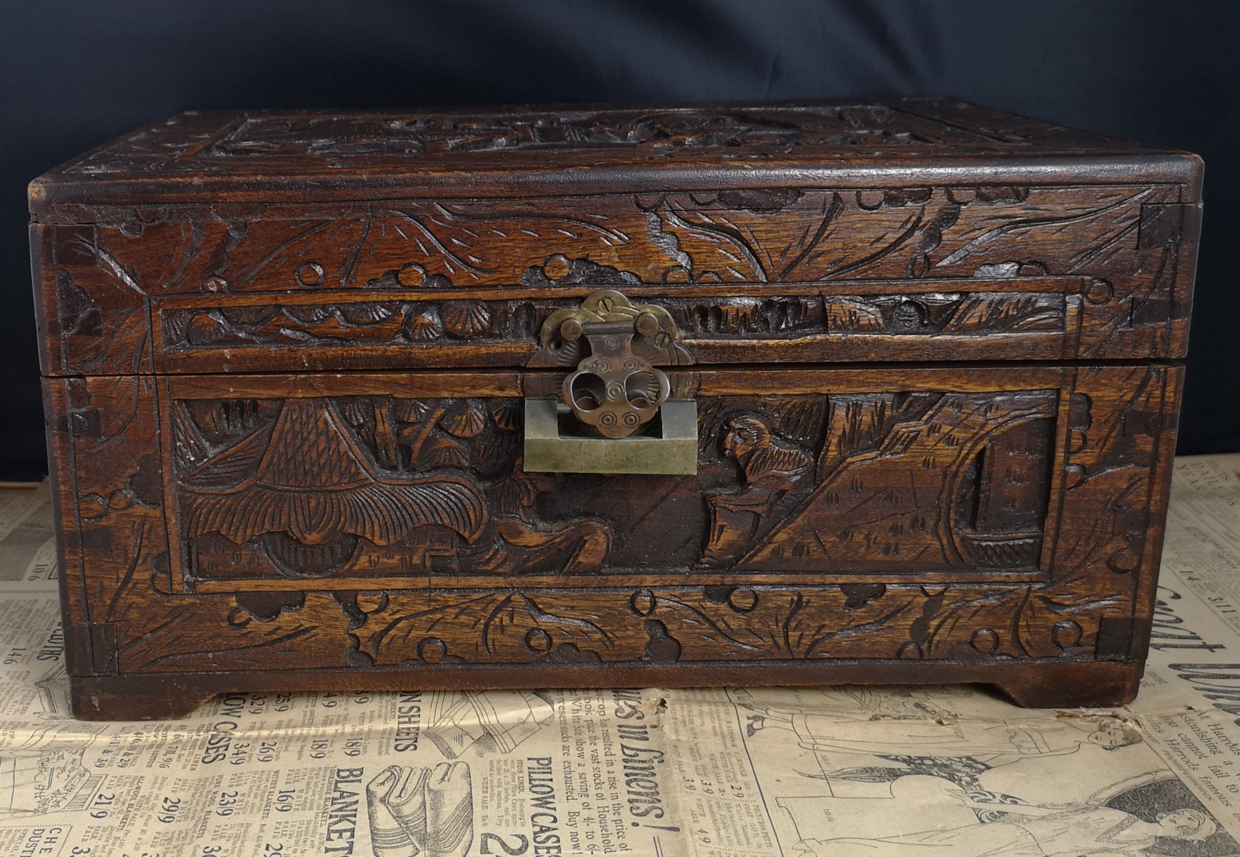 Antique Anese Box Heavily Carved Camphor Wood Small Chest