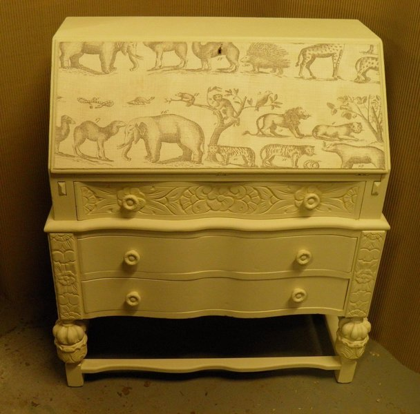 Vintage Shabby Chic Bureau With 'Andrew Martin' Fabric Decoration photo 1