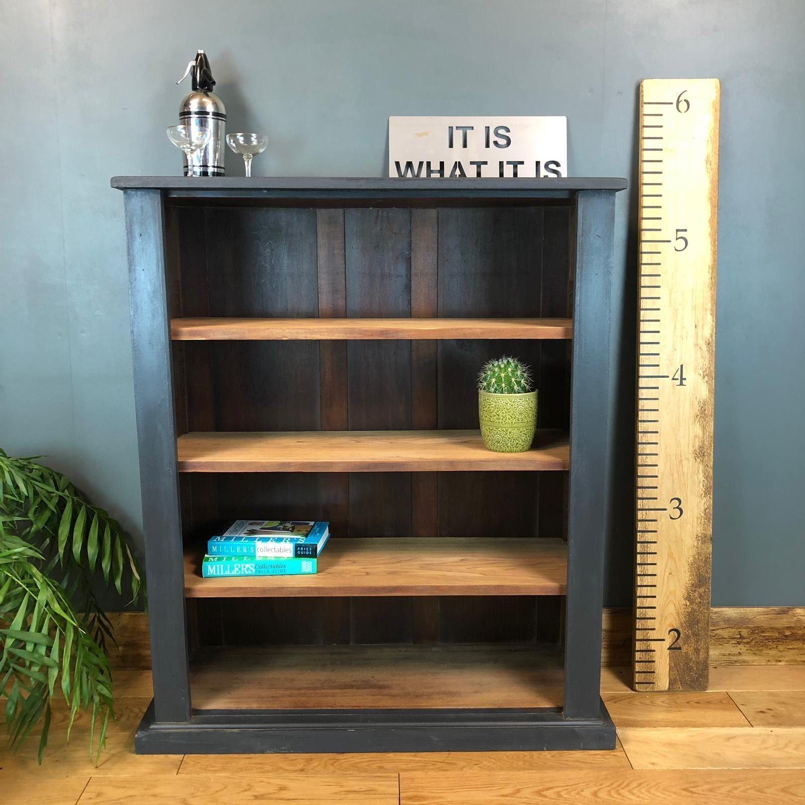 Boho Painted Dark Blue Bookcase Shelves Rustic Drawers Shelving Storage Maho