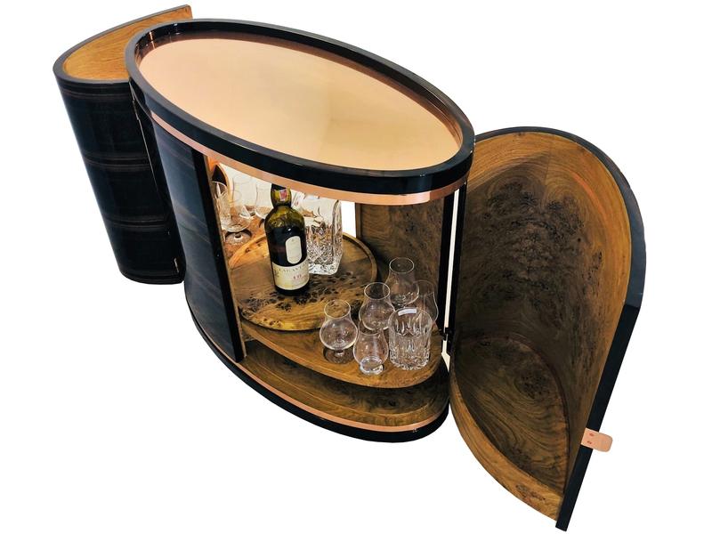 Macassar And Rose Oak Art Deco Design Bar Whiskey Cabinet