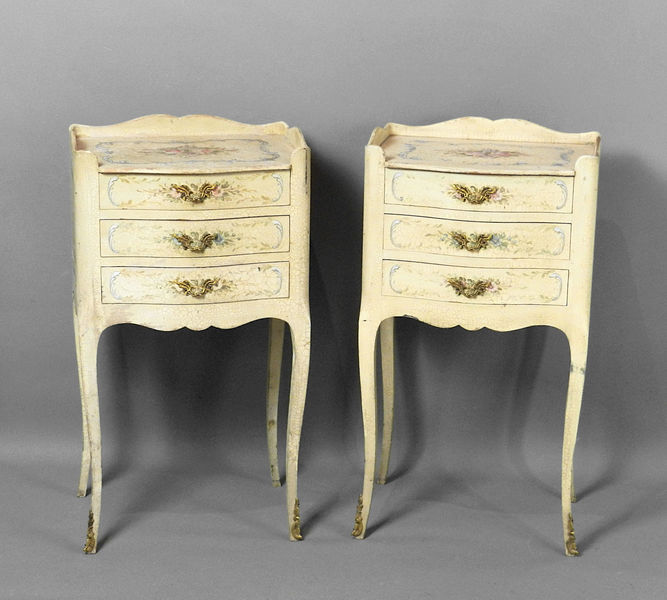 Pair Of French Craquelure Bedside Cabinets Louis Xv Style