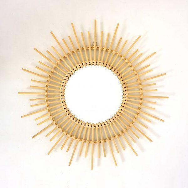 Sun Shaped Rattan Mirror