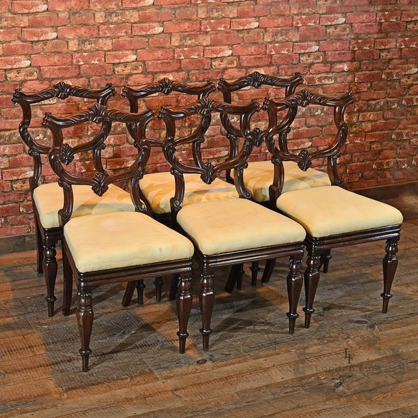 William Iv Set Of Six Rosewood Chairs, C.1835