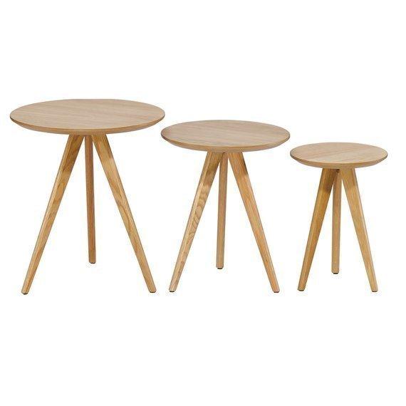 premium selection 16dc3 02ad6 Sale Vintage Retro Nordic Scandinavian Set Of 3 Light Oak Tables. Side  Tables. Coffee Table.