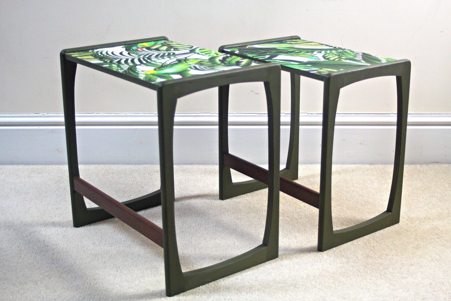 Two Nesting G Plan Side/Occasional Tables Refinished In Olive Green With Botanical Tropical Bird Motif
