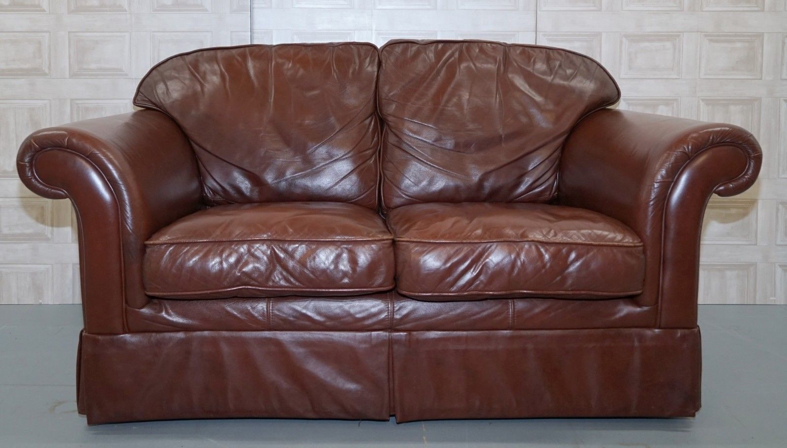 Laura Ashley Brown Leather Sofa In Very Good Condition | Laura ...