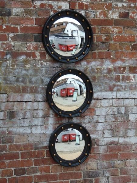 Trio Of Vintage Butlers Porthole Convex Mirrors photo 1