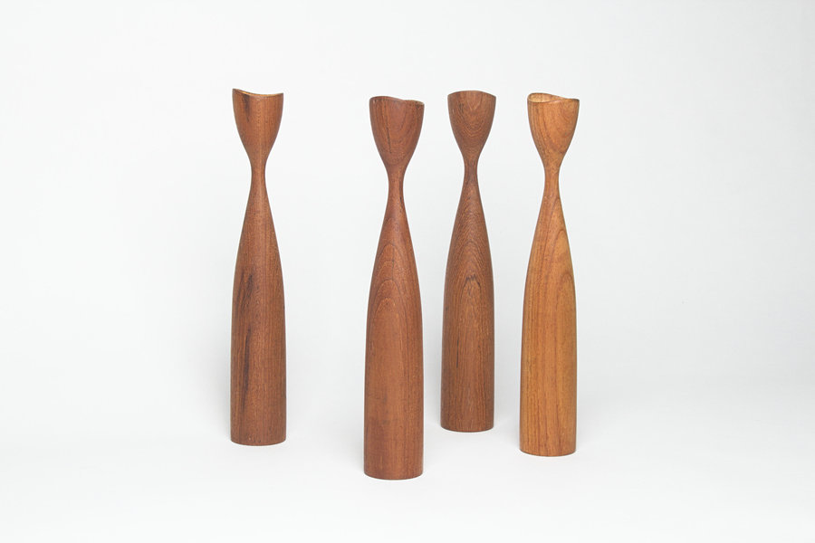 Candlesticks, Teak, Danish, 60s Vintage