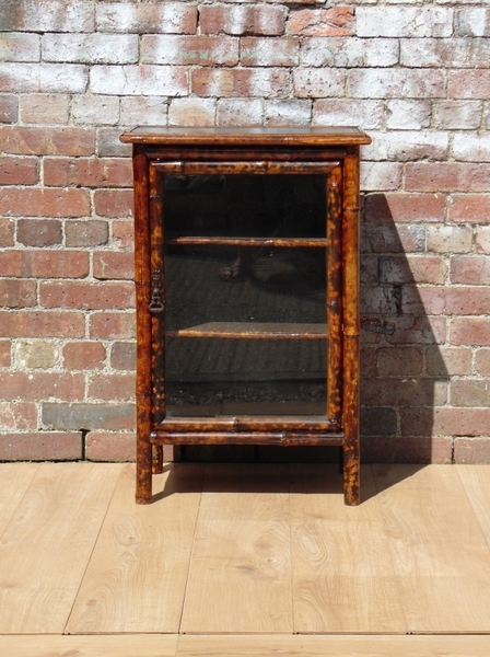 Victorian Re Leathered Bamboo Cabinet