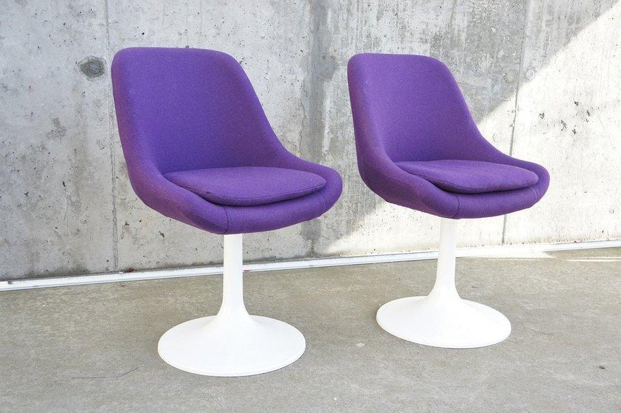 7755789e3ff01 Pair Mid Century Purple Swivel Chairs   Vinterior