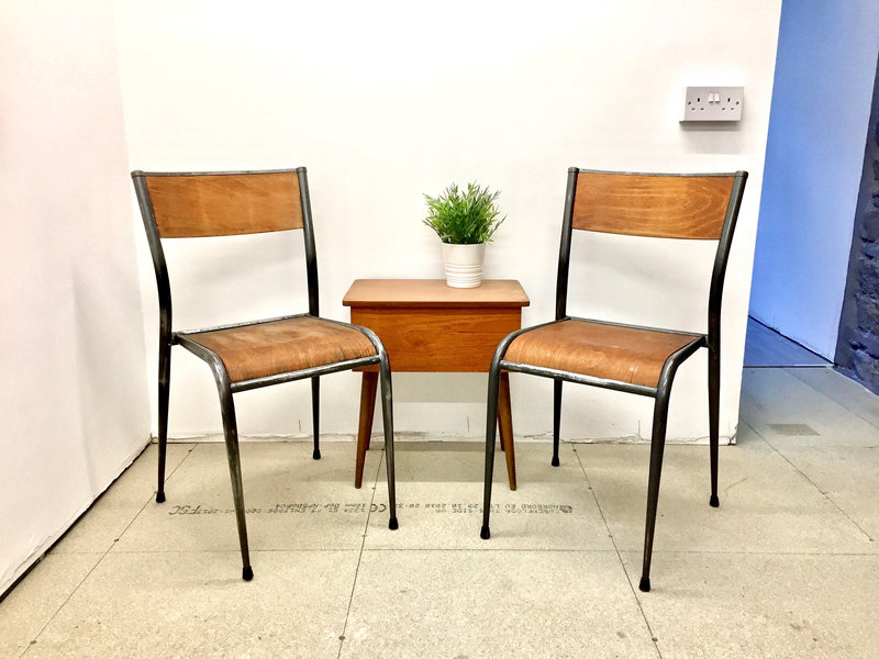 Vintage School Chairs, Mid Century French Mullca 501 Grey Framed School Chairs, Vintage Industrial Beech Wood School Chairs, Kitchen Chairs