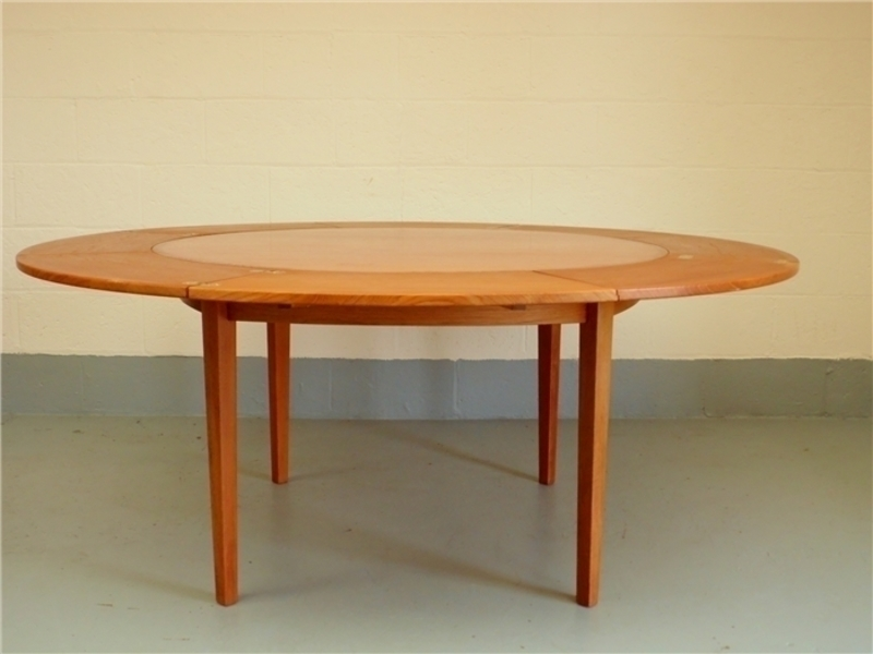 1960's Danish Dyrlund Lotus Flip Flap Teak Dining Table