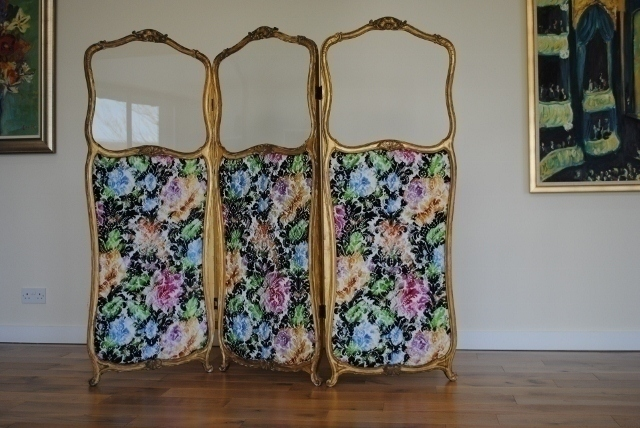 19th Century French Gilt Screen/Room Divider Upholstered In Christian Lacroix Fabric
