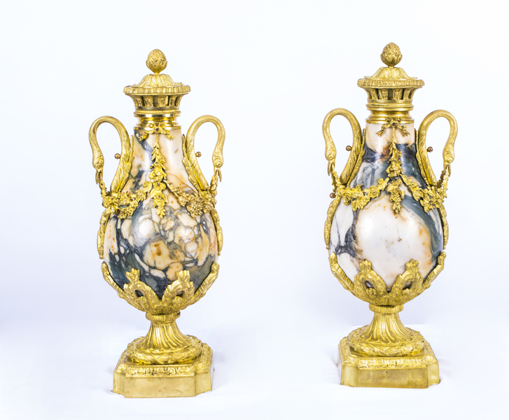 Antique Pair Louis Xv French Carrara Marble Urns C1870 photo 1