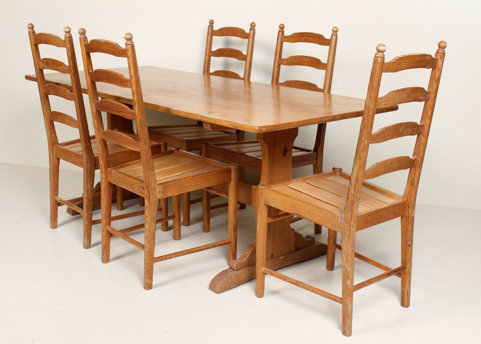 vintage ercol pine refectory dining table and 5 chairs rustic country farmhouse
