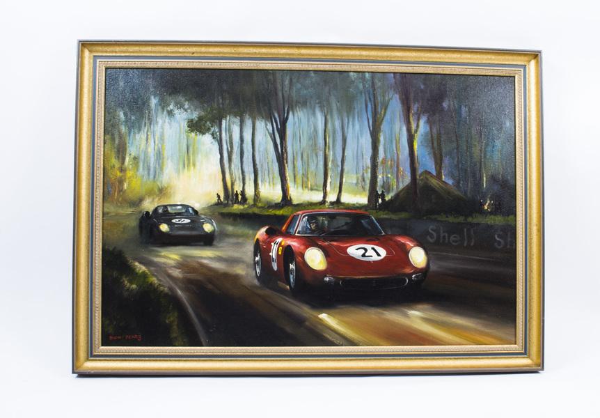 Vintage Painting Ferrari 250 Lm Nart Le Mans Dion Pears