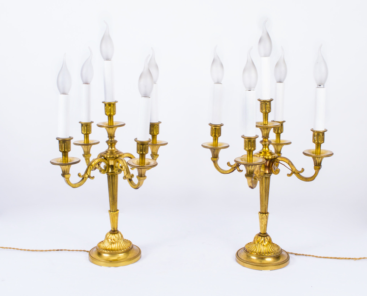 Antique Pair Bronze Table Candelabra Lamps C1930