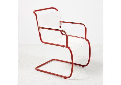 Bauhaus Style Red & White Armchair, 1930s