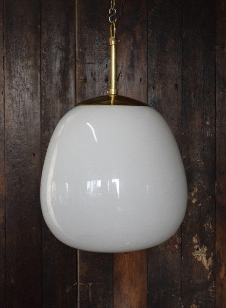 Large Art Deco White Opaline Glass Tulip Light photo 1