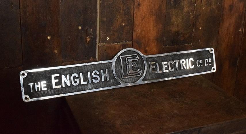 Medium Sized English Electric Chromed Brass Sign