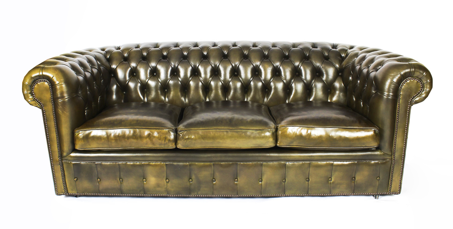 Bespoke English Leather Chesterfield Sofa Bed Olive Green