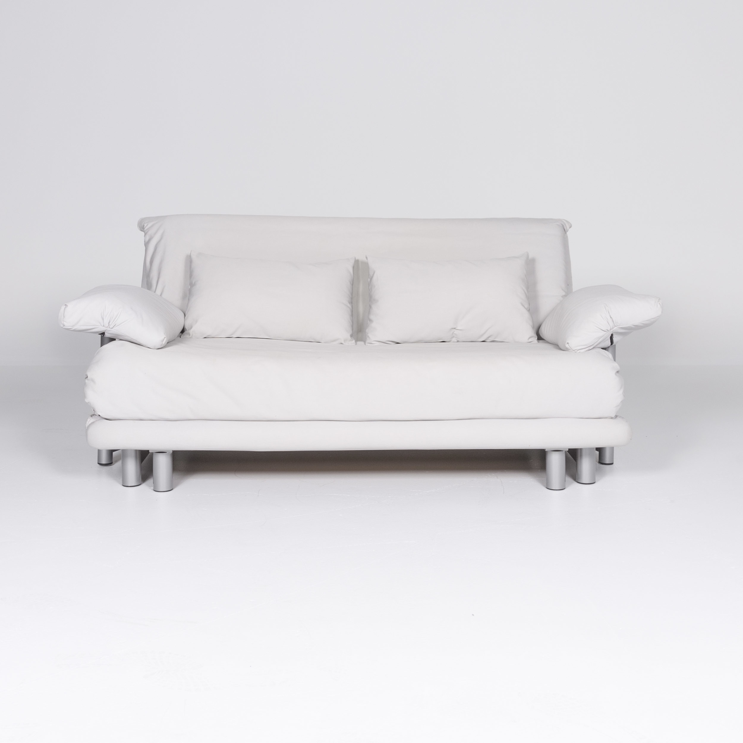 Ligne Roset Multy Designer Fabric Sofa Gray Two Seater Couch Sofa Bed Function 8170