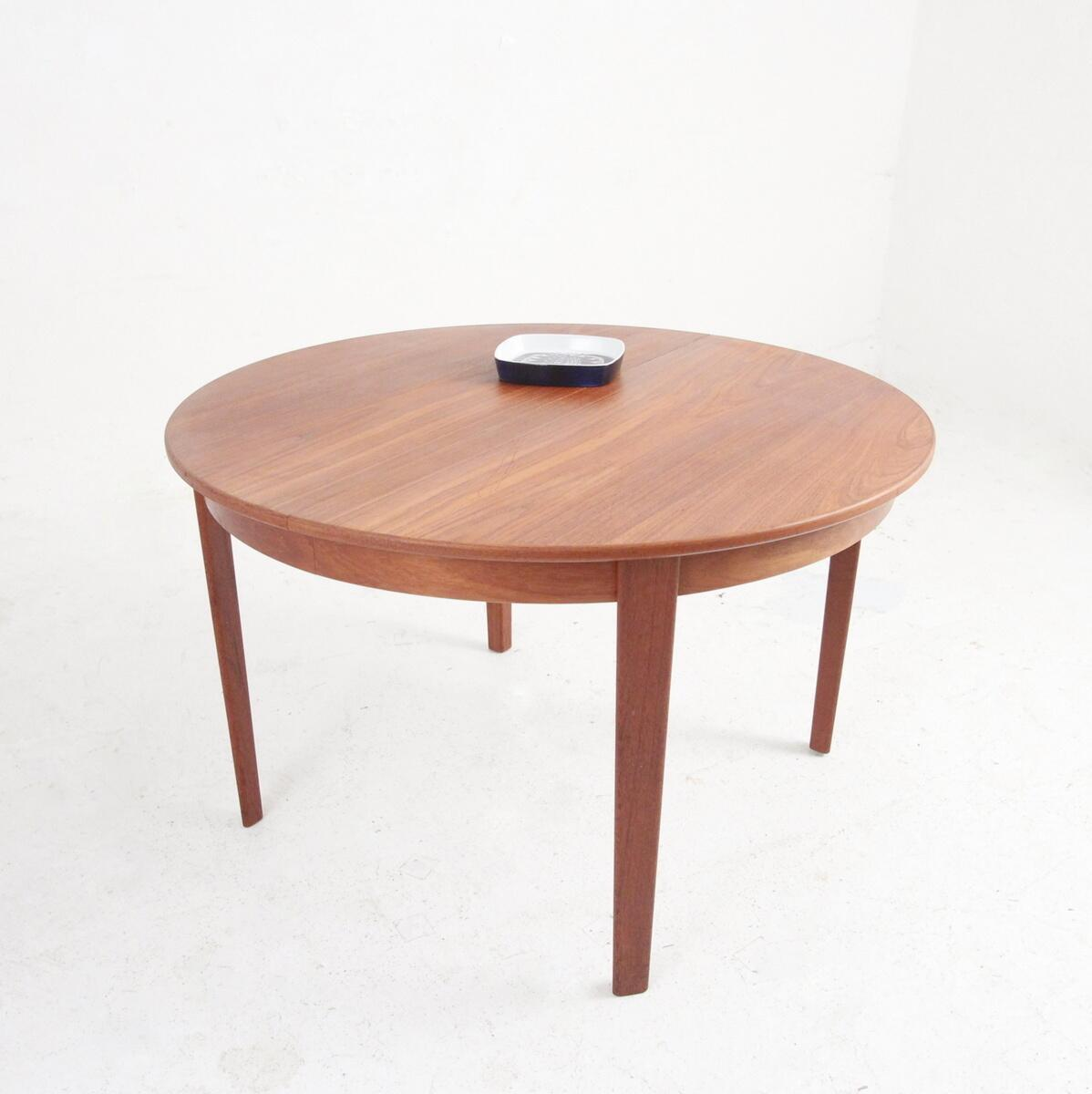 Danish Midcentury Round Dining Table With Extensions