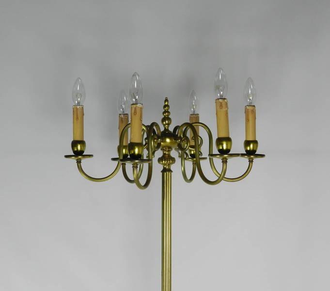 Brass Six Branch Candelabra Standard Lamp photo 1