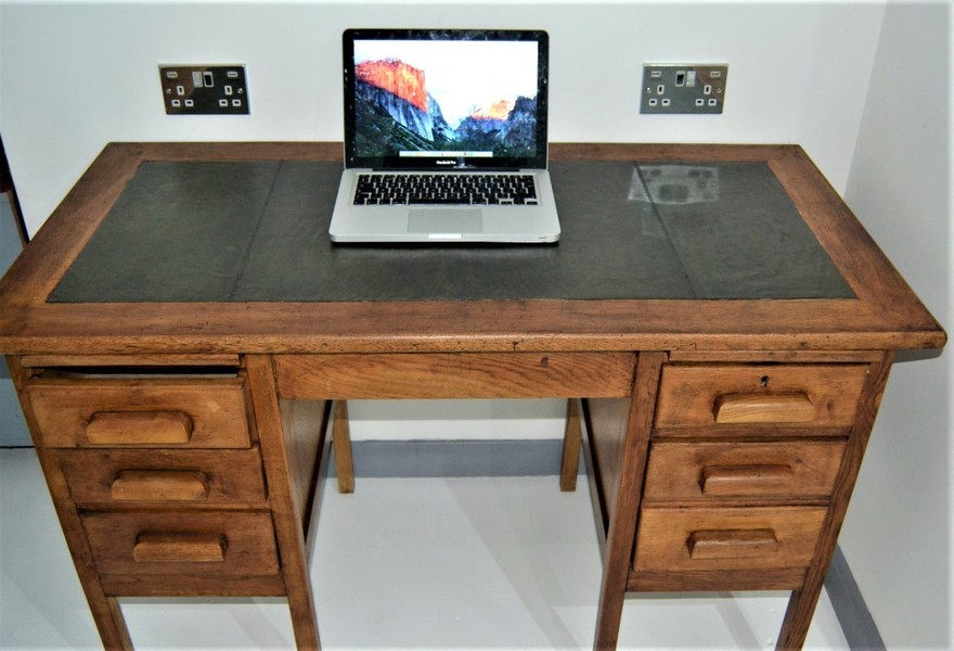 Antique Oak And Leather Top Office Desk
