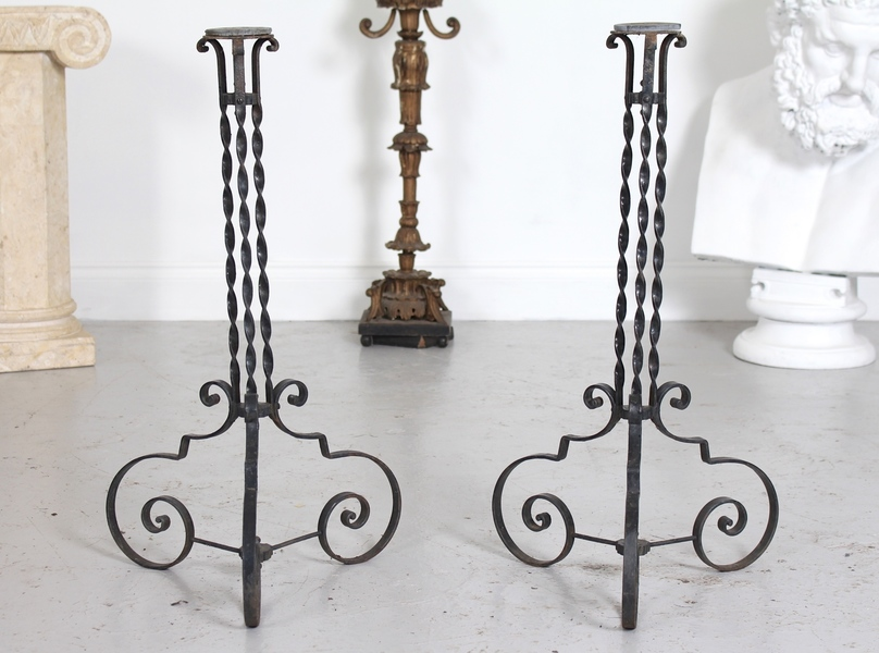 Pair Antique French Wrought Iron Plant Stands