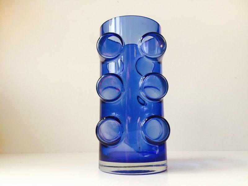 Modernist Pablo Blue Glass Vase By Erkkitapio Siiroinen For Riihimäen Lasi, 1970s