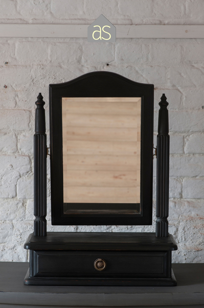 Reloved Antique Edwardian Dressing Table Swing Mirror With Drawer In Graphite Black 85